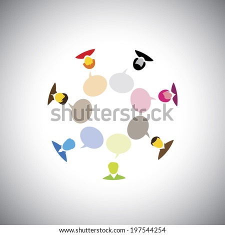 people or executives or employees talking in a meeting - concept vector graphic. This illustration also represents people discussion, brainstorming, online interaction & engagement, group chat - stock vector