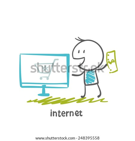 people ordering online purchases illustration - stock vector