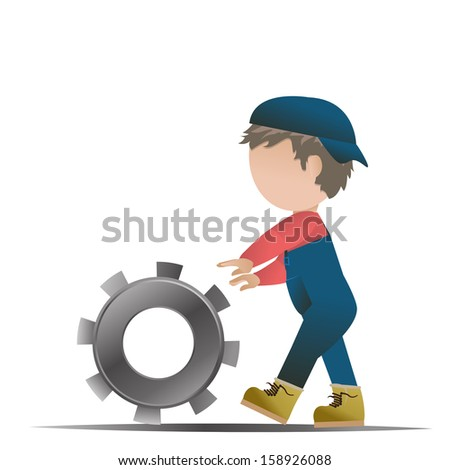 People Over Gear Wheel - Isolated On White Background - Vector Illustration, Graphic Design Editable For Your Design - stock vector