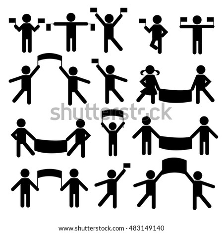 People Person Stick Figure Pictogram Icon. Action. Basic Body. Black. People with flags and banners. Set of vector people