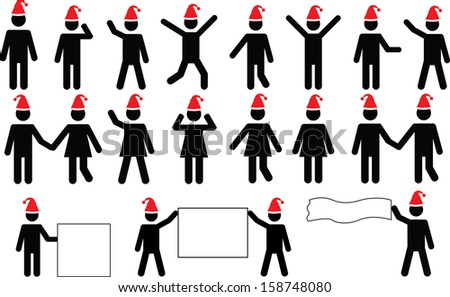 People pictograms with Christmas hats set illustrated on white - stock vector