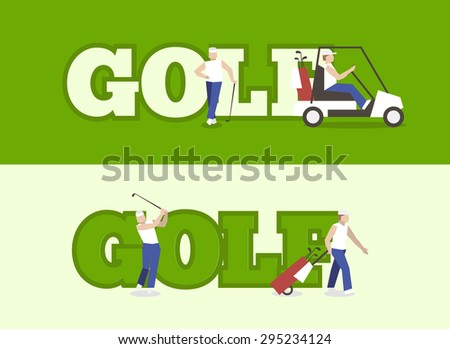 People playing Golf with text. label golf for banner golf club.  - stock vector