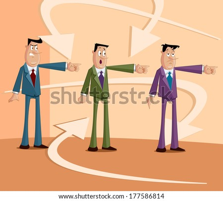 people pointing each other, Blame Game Concept - stock vector