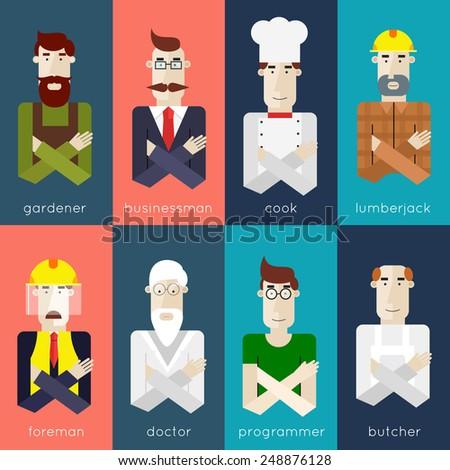 People portraits in different professions.Set of vector illustration in modern flat style. Gardener, butcher, businessman, cook, woodcutter, doctor, computer programmer, builder, engineer - stock vector