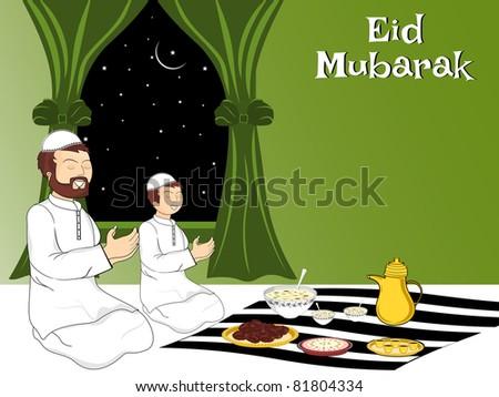people praying before eating food - stock vector