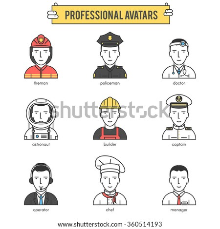 People professional avatars. Modern flat line vector icons set illustration icons set pictogram pack. Stroke vector logo concept for web graphics.