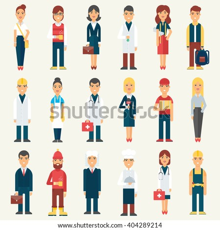 People, professionals, occupation. Vector illustration - stock vector