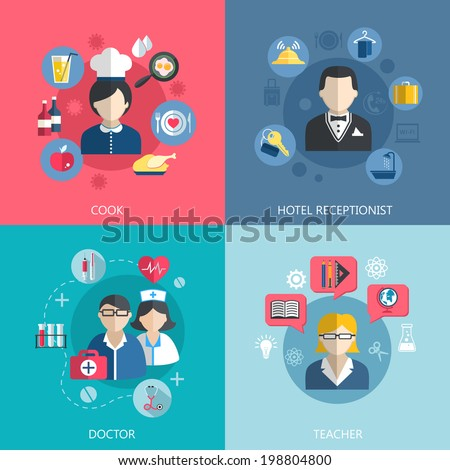 People professions concept flat icons set of cook doctor hotel receptionist and school teacher jobs for infographics design web elements vector illustration - stock vector