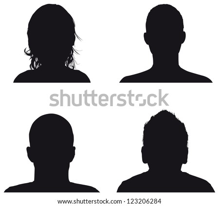 people profile silhouettes - stock vector