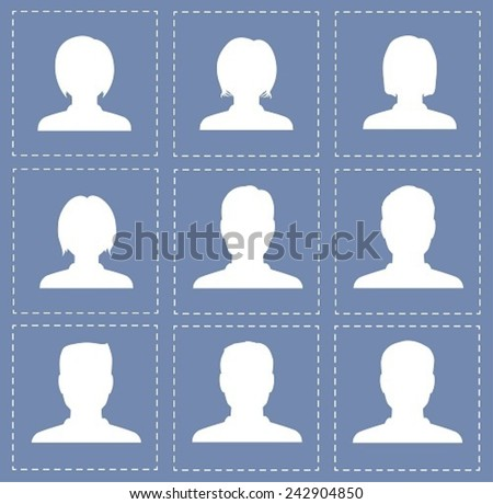 people profile silhouettes women and men in white color - stock vector