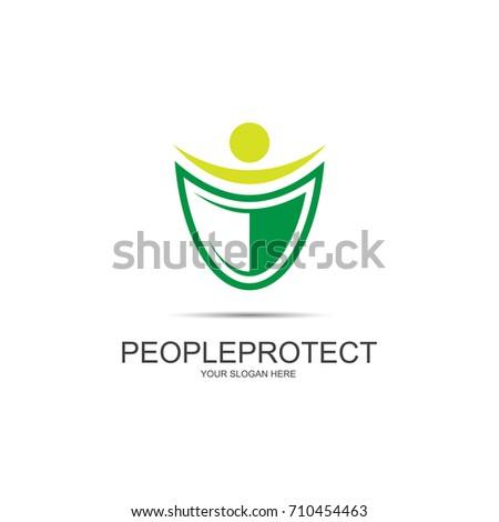 People Protect Logo Health Insurance Logo Stock Vector 710454463