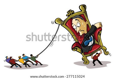 People pulling bad business man - stock vector