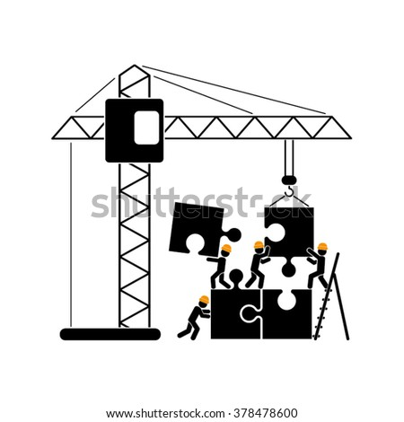 people puzzle and crane vector illustration - stock vector