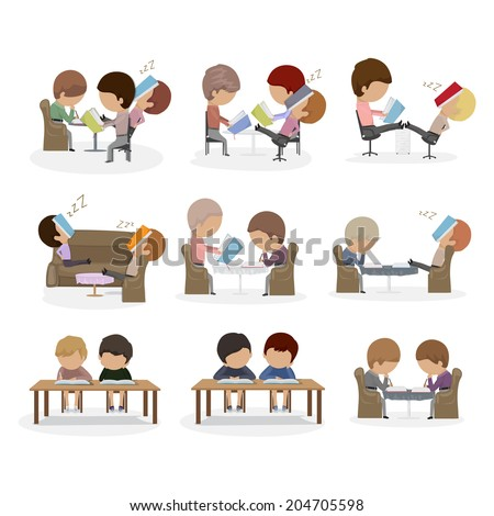People Reading A Book And Learning - Isolated On White Background - Vector Illustration, Graphic Design Editable For Your Design - stock vector