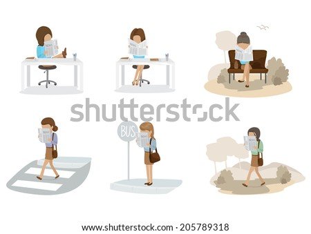 People Reading A Newspaper Set - Isolated On White Background - Vector Illustration, Graphic Design Editable For Your Design - stock vector