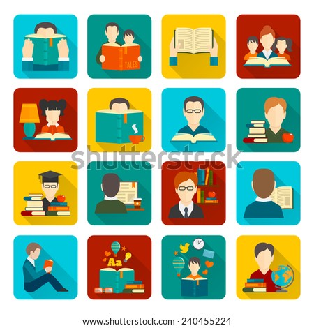 People reading books flat icons collection set isolated vector illustration - stock vector