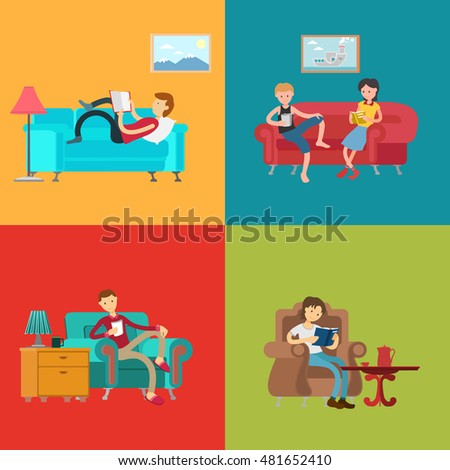 People Reading Books In Home Living Room Interior Set Vector Illustration Woman And