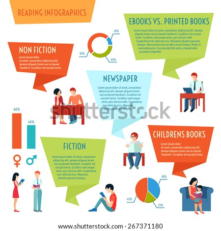 People reading books magazines and newspaper infographics set with charts vector illustration - stock vector