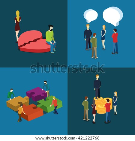 People relations and business concept.  Set of the flat isometric vector illustration. - stock vector