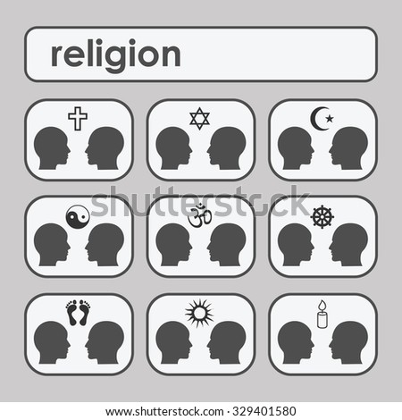 People relationships icons illustrated with symbols of different religions. Vector icons set - stock vector