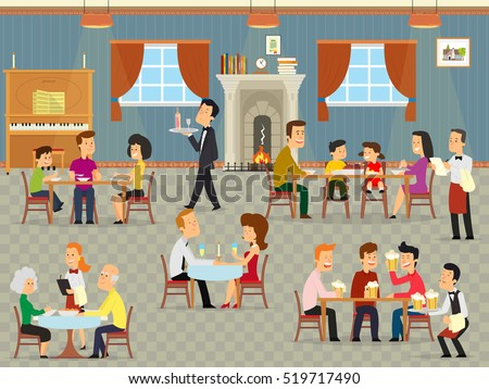 people relax in the cafeteria. family with children eating at the restaurant. modern interior of a small cafe. vector illustration