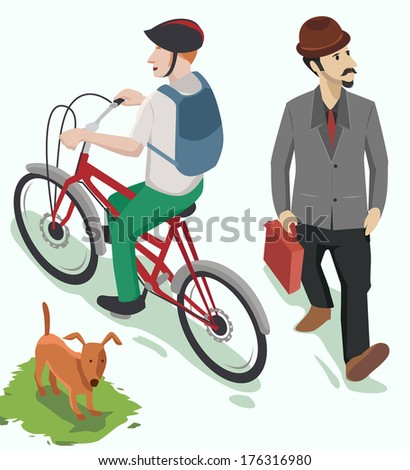 people ride bicycle and business man walking. set of vector isometric - stock vector