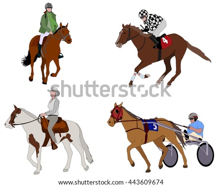 people riding horses illustration - stock vector
