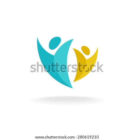 People rise logo. Two abstract happy human figures with hands up symbol. - stock vector
