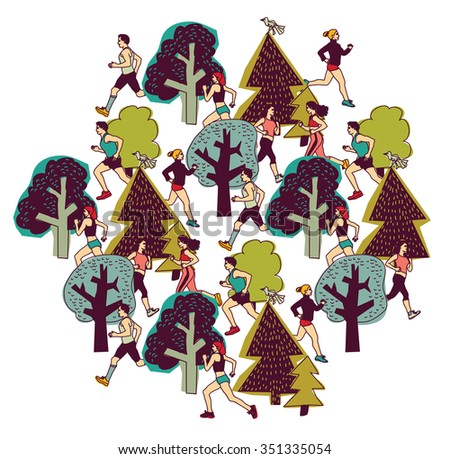 People run in park color isolate on white. Group people run between trees. Color vector illustration. EPS8 - stock vector