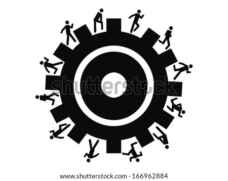 people running around gear - stock vector