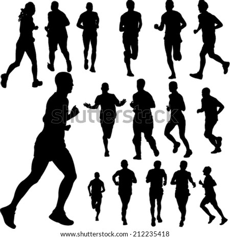 people running collection 2 - vector - stock vector