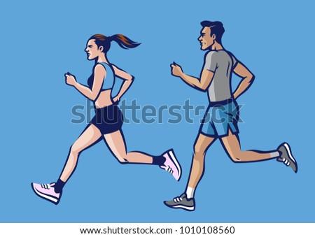 People Running Set Drawing