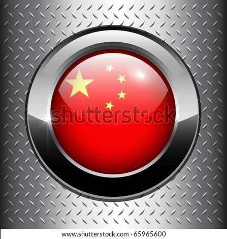 People's Republic of China flag button on metal background, vector. - stock vector