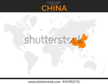Peoples Republic China Location Modern Detailed Stock Vector - World map no names