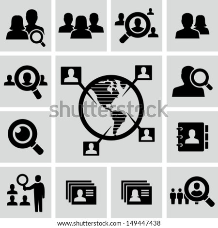 People search icons - stock vector