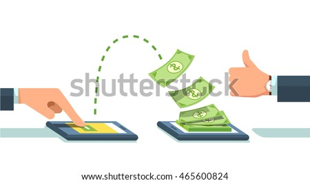 People sending and receiving money wireless with their mobile phones. Hand tapping  smart phone with banking payment app. Modern flat style concept vector illustration isolated on white background.
