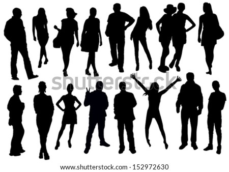 Standing crowd silhouette - photo#50