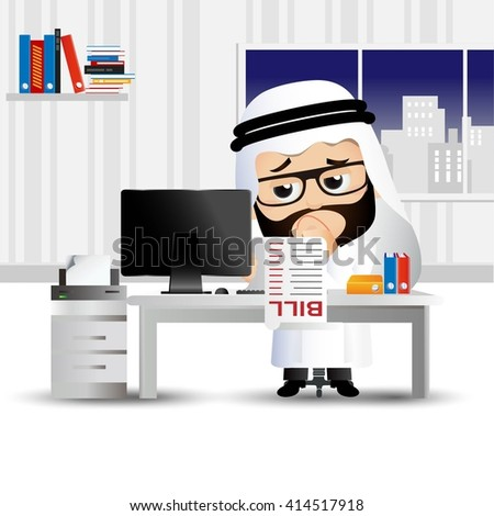 People Set - Arab - Businessman stressed and worried with a lot of bills - stock vector