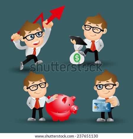 People Set - Business - Businessman. finance set. - stock vector