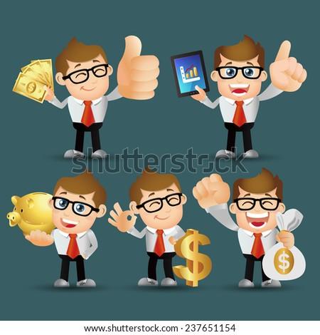 People Set - Business - Businessman. finance set. Gold - stock vector