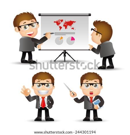 People Set - Business - Businessman giving presentation - stock vector