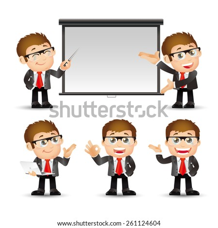 People Set - Business - Businessman giving presentation - stock vector