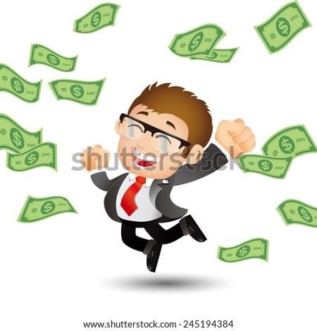 People Set - Business - Businessman on pile of money cash - stock vector