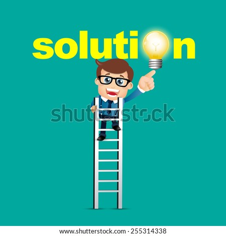 People Set - Business - Businessman pointing solution symbol - stock vector