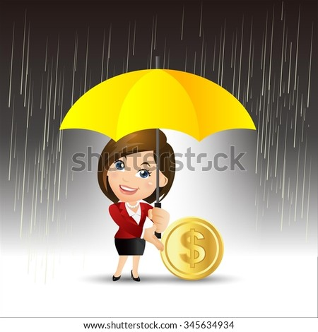 People Set - Business - Businesspeople protecting money for any storm problem - stock vector