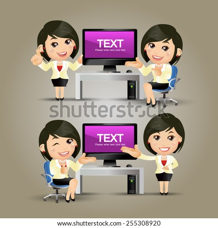 People Set - Business - Businesswoman at computer. B - stock vector