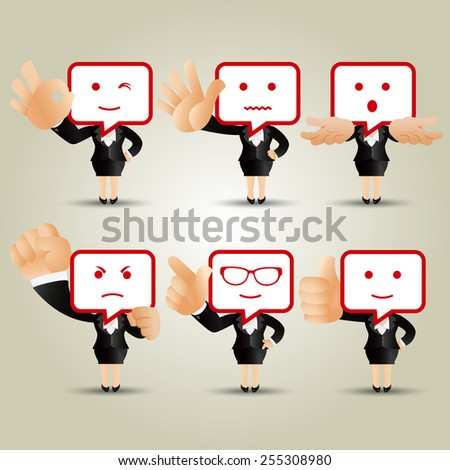 People Set - Business - Businesswoman with bubbles speech instead of head - stock vector