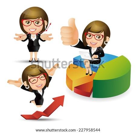 People Set - Business -Businesswomen work successfully - stock vector
