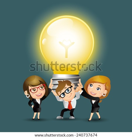 People Set - Business - Group of business people holding up huge light bulb - stock vector