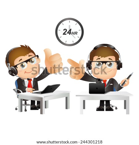 People Set - Business - Men. Customer support with headphones - stock vector